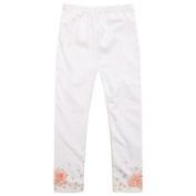 Richie House Little Girls White Peach Tiny Flower Bow Print Stretchy Leggings 2/3