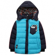 Richie House Little Boys Blue Contrast Sleeve Hooded Padding Jacket 2/3