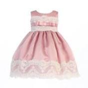 Lito Little Girls Mauve Organza Embroidered Tulle Lace Easter Dress 2T