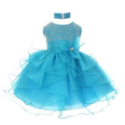 Little Girls Turquoise Organza Rhine studs Bow Flower Girl Dress 4T