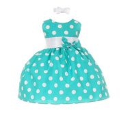 Baby Girls Teal White Polka Dot Bow Sash Headband Special Occasion Dress 18M
