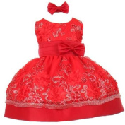 Little Girls Red Sequin Floral Embroidery Flower Girl Christmas Dress 2T