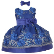 Baby Girls Royal Blue Sequin Floral Embroidery Flower Girl Christmas Dress 6M