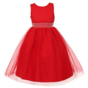 Rainkids Little Girls Red Sparkly Tulle Pearls Occasion Christmas Dress 2
