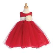 Lito Baby Girls Red Ivory Sash Poly Silk Tulle Flower Girl Dress 6-12M