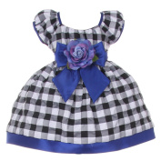 Baby Girls Black White Royal Blue Chequered Corsage Flower Christmas Dress 3-6M
