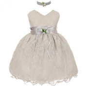 Baby Girls Silver Lace Overlay Flower Sash Special Occasion Dress 18M