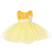 Baby Girls Banana Yellow Sequins Bow Sash Tulle Special Occasion Dress 3-24M