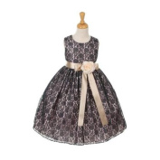 Cinderella Couture Little Girls Navy Lace Champagne Sash Sleeveless Dress 4