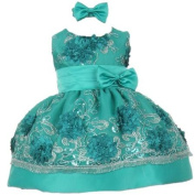 Baby Girls Teal Sequin Floral Embroidery Flower Girl Christmas Dress 24M