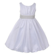Cinderella Couture Little Girls White Pearl Bubble Flower Girl Dress 2