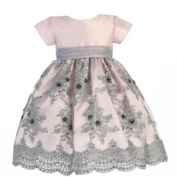 Lito Little Girls Pink Silver Shantung Sequins Tulle Christmas Dress 4T