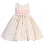 Lito Little Girls Pink Floral Print Poly Shantung Sash Easter Dress 2T