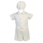 Baby Boys White Cotton Plaid Vest Hat Shorts Christening Outfit Set 6-12M