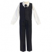 Lito Baby Boys Black Poly Silk Vest Tie 4 Pcs Special Occasion Set 6-12M