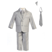 Lito Baby Boys Silver Two-button Metallic Special Occasion Suit 12-18M