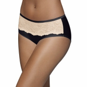 Bali Womens One Smooth U Comfort Indulgence Satin with Lace Hipster Panty 8 Black with Nude