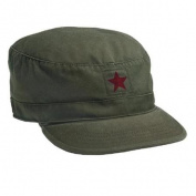 Vintage Olive Drab Fatigue Cap with Red Star, XL