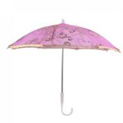 Plastic Handle Floral Pattern Sequin Decor Pink Mini Lace Parasol Umbrella