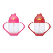 Lollacup Infant And Toddler Straw Cup, 2 Pack - Pink/Red