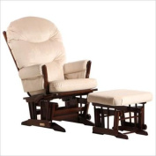 Dutailier C20-82A-62-3093 Platinum Multiposition Reclining 2 Post Glider with Ottoman in Coffee and Light Beige