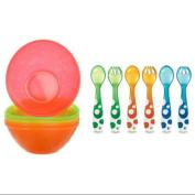 Munchkin Multi Feeding Bowls & 6 Piece Fork and Spoon Set