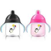 Philips Avent My Penguin Sippy Cup 270ml 2 Pack - Pink/Black