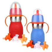 The Safe Sippy 2 2-in-1 Sippy to Straw Bottle, 2 Pack, Red/Blue