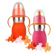 The Safe Sippy 2 2-in-1 Sippy to Straw Bottle, 2 Pack, Orange/Pink