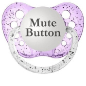 Personalised Pacifiers Mute Button Pacifier, Glitter in Purple