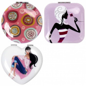 BMC Womens 3 pc Mixed Design Alloy Metal Folding Compact Beauty Makeup Mirrors