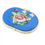 Oval Shape Embroidered Flower Pattern Mini Pocket Makeup Cosmetic Mirror Blue