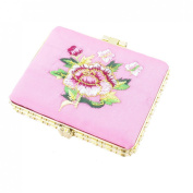 Rectangle Shape Embroidered Flower Pattern Mini Pocket Makeup Mirror Pink