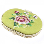 Oval Shape Embroidered Flower Pattern Mini Pocket Makeup Cosmetic Mirror Yellow