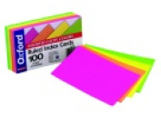 Oxford 7.6cm x 13cm . Glow Ruled Index Card Pack 100