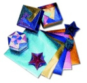 Hygloss Folders Fantasy Foil Embossed Origami Paper - 15cm x 15cm . - Assorted Colour Pack 100