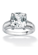 PalmBeach Jewellery 486028 3.28 TCW Cushion-Cut Cubic Zirconia 10k White Gold Engagement Anniversary Ring Size 8
