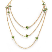 PalmBeach Jewellery 4966808 Princess-Cut Birthstone Station Necklace in Yellow Gold Tone 48 August - Simulated Peridot