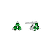 Luis Creations ERL795EM 0.30 Ct. Emerald Three Stone Earrings In 14K Gold