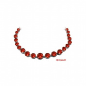 Fine Jewellery Vault UBNKBK7205W14GR Garnet Graduated Bead Necklace in 14K White Gold 30 CT TGW January Birthstone Jewellery