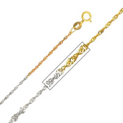 Precious Stars SEC0214160 Tri-Tone Gold 1.2 mm. Singapore Chain 16 in. Necklace