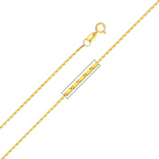 Precious Stars SEC0218180 Yellow Gold 1 mm. Snail Chain 18 in. Necklace