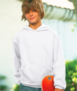 LAT L2296 Youth Fleece Hooded Pullover Sweatshirt with Pouch Pocket - White Small