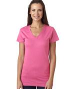 LAT L3607 Juniors Fine Jersey V-Neck Longer Length T-Shirt - Raspberry Sorbet Extra Large