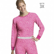 Pink Leopard Womens X-Temp Thermal Printed Crew - Size 2XL