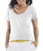 LAT 3504 Ladies Fine Jersey Deep Scoop Neck Longer Length T-Shirt White Medium