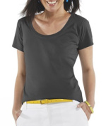 LAT 3504 Ladies Fine Jersey Deep Scoop Neck Longer Length T-Shirt Charcoal Extra Large