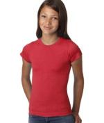 LAT 2605 Girls Vintage Longer Length T-Shirt Red Extra Large