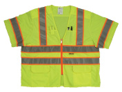 2W MS539C-3 4XL Class 3 Mesh And Solid Ansi Vest - Lime 4 Extra Large