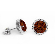 Glimmering GE007-ST 6 mm.Round Shape Rhodium Plated Smoky Topaz Colour Stud Earrings Made with. Crystals